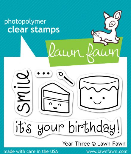 LF0454 S ~ YEAR THREE - CAKE ~ CLEAR STAMPS BY LAWN FAWN